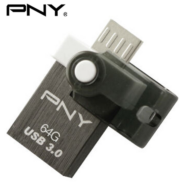 Pny genuino turbo mini usb flash drive de 32 gb 16 gb 64 gb usb stick 3.0 tipo a micro usb otg disco de dispositivos de almacenamiento para samrtphone PC