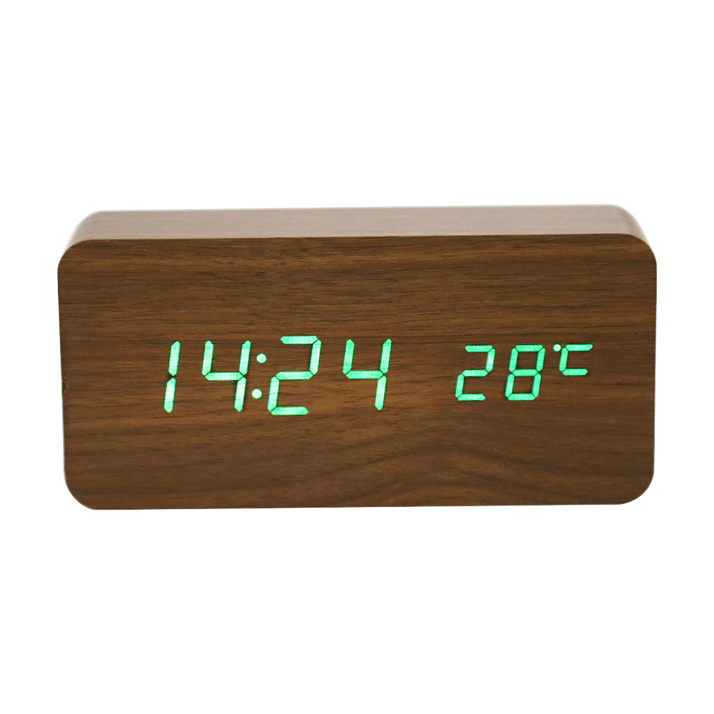 Wooden Digital LED Alarm Clock Voice-Activated Electronic Wooden Alarm Clock Temperature Display Desk Table Clocks