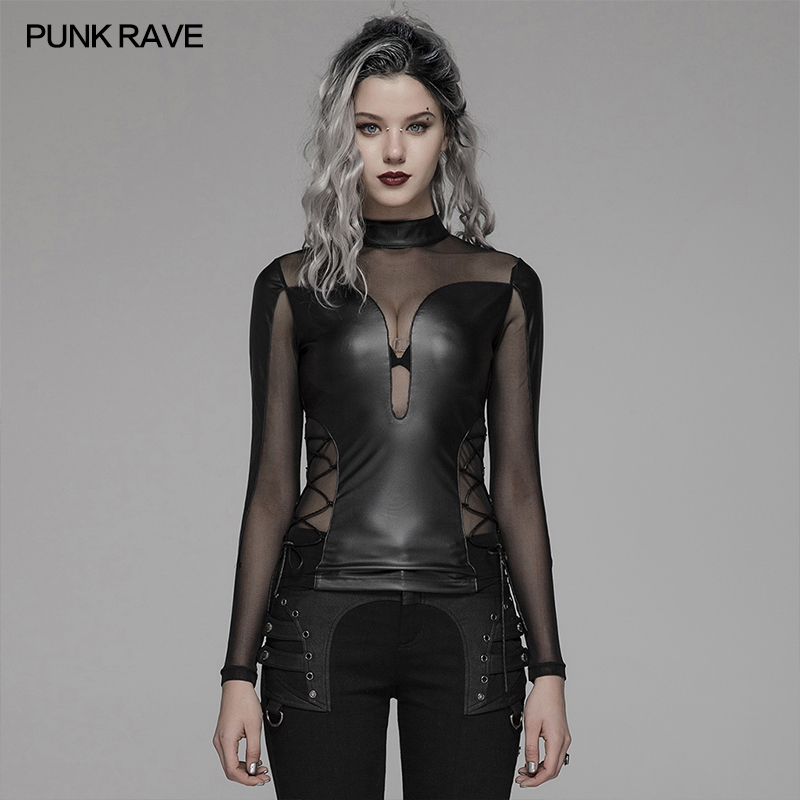 PUNK RAVE femmes Punk Sexy serré Fit Perspective manches longues T-shirt noir gothique fête Club en cuir Harajuku t-shirts hauts