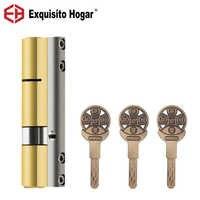 Door Lock 65 75 85 95mm Brass Cylinder Double Open Sided Blade Break Anti Pry Stainless Steel Bar Brass Snake Groove Cylinder