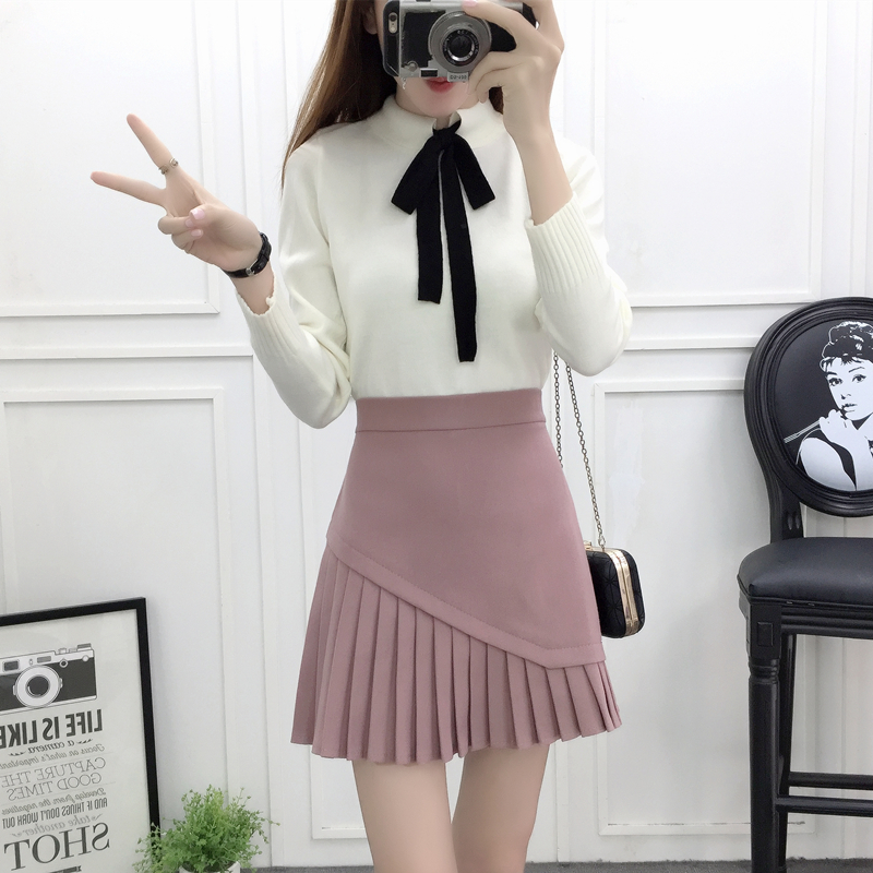 new winter woolen cloth skirt korean fashion cloth bust skirt suit disorder sweater two piece outfit girl clothing set bow top