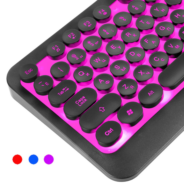 Backlight Russian English Keyboard Retro Round Glowing Keycap Gaming Keyboard three Color USB Wired for Desktop Laptop 2
