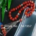 Natural 33 cuentas de Ágata Roja Redonda Forma granos de Rezo Islámica Musulmán Tasbih Allah envío libre