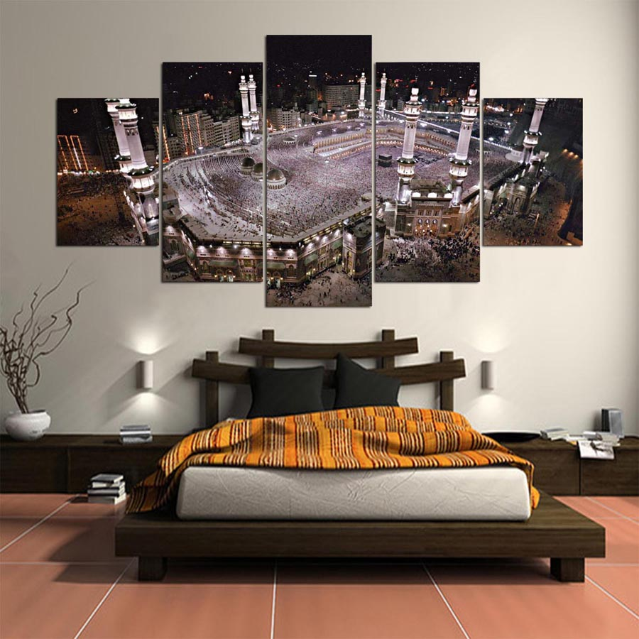 5 panneau islamique Kaaba nuit scène mur Art photos grande affiche HD imprimé peinture pour salon Lienzos Cuadros Decorativos