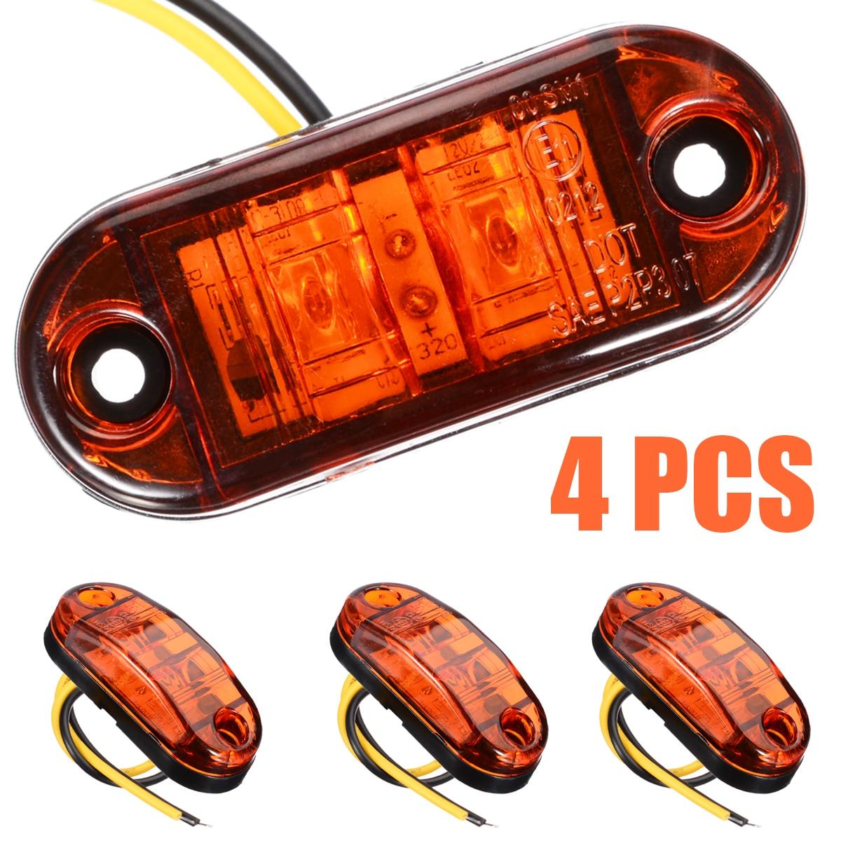 4Pcs 12V/24V 2LED Car Side Marker Light Trailer Truck Turn Signal Indicator Light Amber Car Truck Signal Light