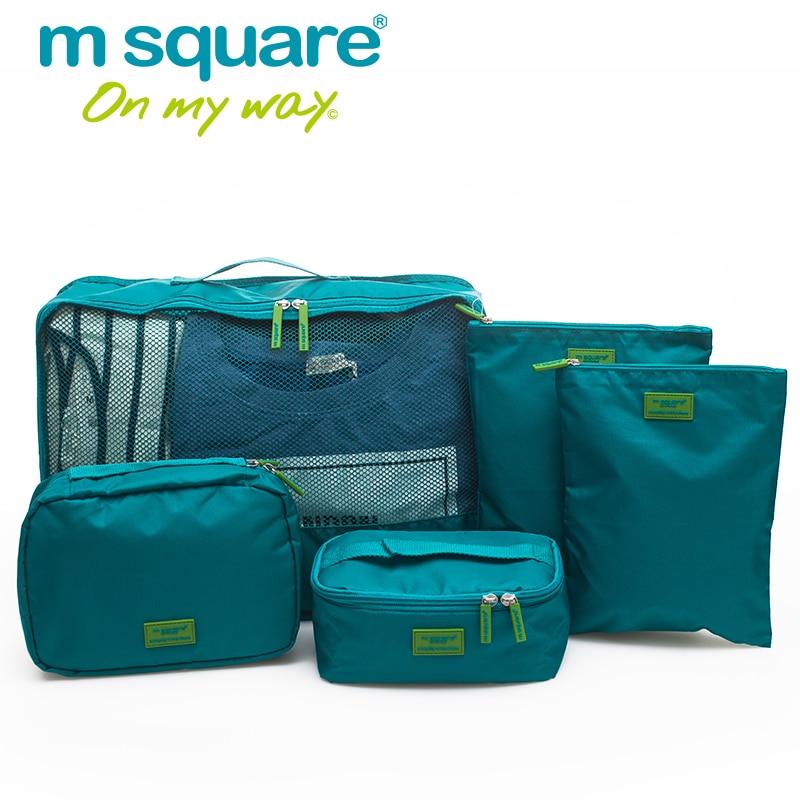 M площад 5бр Пътуване Опаковка Cube Комплект Унисекс Жени Мъже Пътуване Чанти Организиране на съхранение на багаж Duffel Чанта Кубове Organizador Duffle