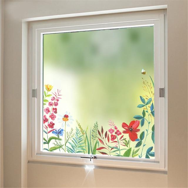 flower Frosted Glass Sliding Door Bathroom Window wall glass Stickers Door Film Translucent Opaque Self adhesive & flower Frosted Glass Sliding Door Bathroom Window wall glass ...