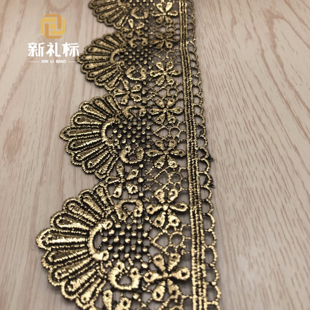 US $22 95 15% OFF|15Yards Gold Metallic Embroidery Lace Trim Chemical Cord  lace Scalloped Flower Appliqued Border Black Sewing Trims 6 6cm wide-in