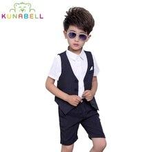 Children Baby Boys Brand Birthday Clothes Tuxedos Wedding Dress Formal Suit Set Waistcoat Vest Pants Gentleman Kids Costumes F41