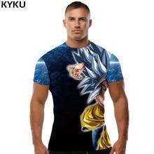 KYKU Dragon Ball Z T shirt Goku T-shirt Silver Hair Clothing Starry Sky Clothes Muscle Tops  shirts Men 3d Sexy Punk
