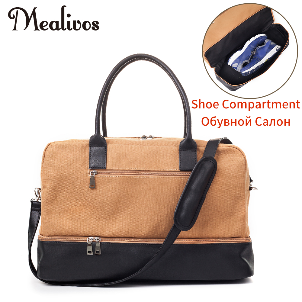Mealivos 2017 Fashion Canvas Male Large Weekender Bag Overnight men travel bags Carry On Duffel with