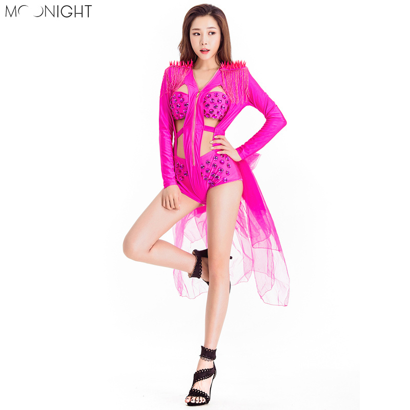 MOONIGHT Singer Stage Show Costume DJ Dance Outfit Performance Wear Bar Nightclub Modern Dance Playsuit Dance Chothes