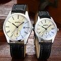 Moda divertido parejas amante relojes de cuero del cuarzo de pulsera reloj de hombre y señoras par de horas hombres mujeres reloj