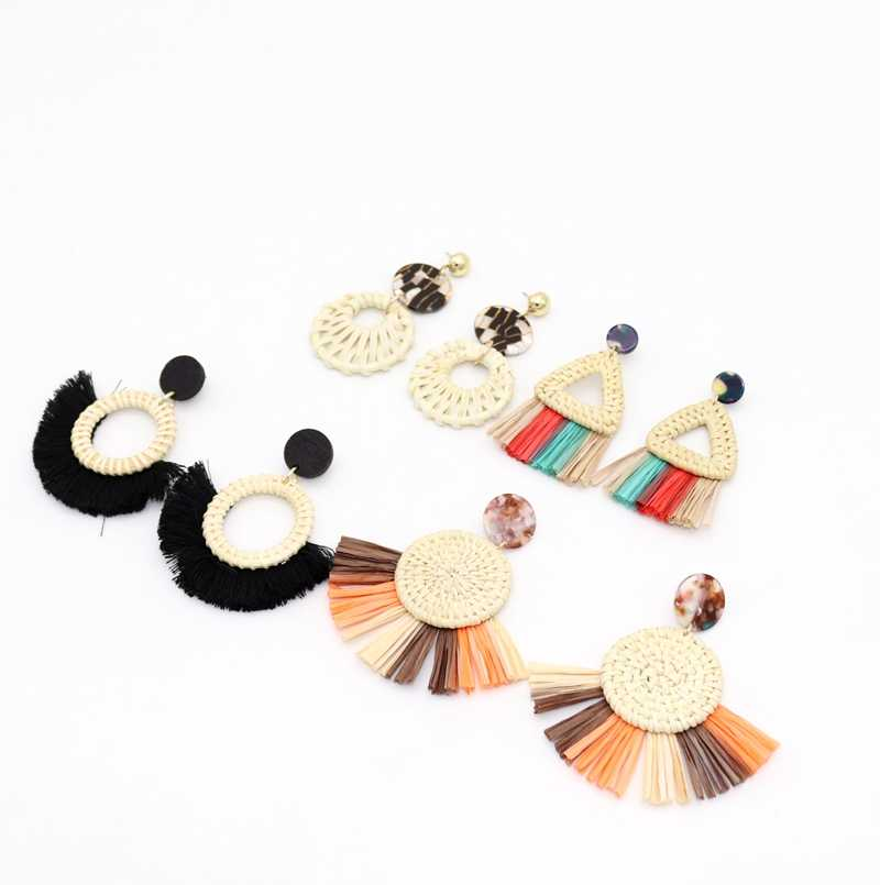 2018 New Fashion multicolor geometric triangle circle Grass weaving inlay wood tassel Drop Earrings for Women