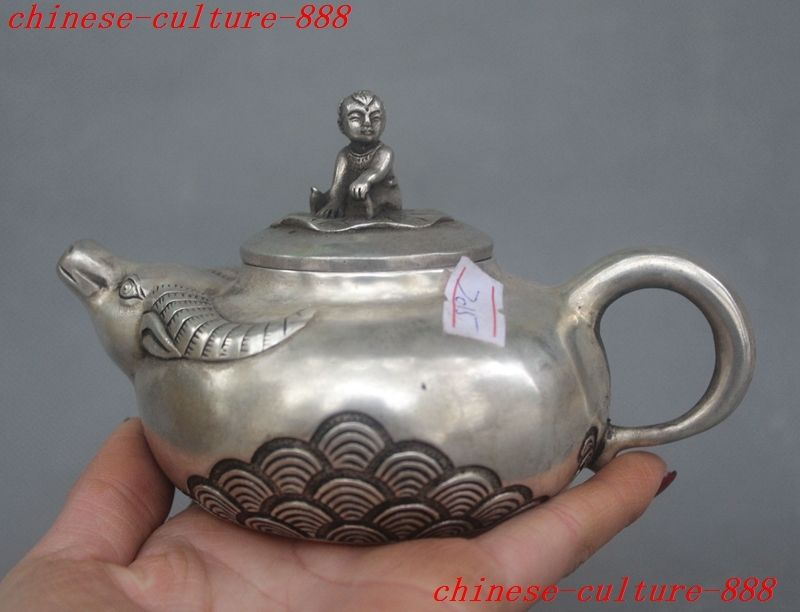 Crafts statue Chinese fengshui silver child cattle head statue lucky rice wine tea pot Flagon halloweenCrafts statue Chinese fengshui silver child cattle head statue lucky rice wine tea pot Flagon halloween