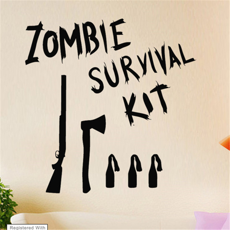 Zombie Survival Kit Game Film Cool Wall Art Stickers Decals Vinyl Home Room Deco Wall Stickers Decorative Art