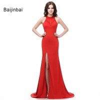 New Mermaid Chiffon Halter Sleeveless Floor Length Red Evening Dresses 2016 Real Sample Vestidos De Fiesta