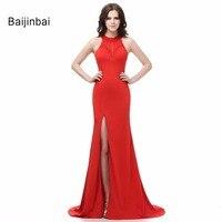 New Mermaid Chiffon Halter Sleeveless Floor Length Red Evening Dresses 2016 Real Sample Vestidos De Fiesta