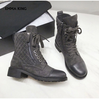 Spring/Autumn 2019 NEW Martin Boots Lace up Motorcycle Ankle Boots Women Luxury Shoes Woman Thick Heel Booties Zapatos de mujer