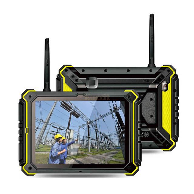 "2017 China Industrial Tablet PC Robusta A Prueba de agua Teléfono Huella Digital UHF PTT Walkie talkie de Radio 8 ""HD teléfono Móvil Android GPS"