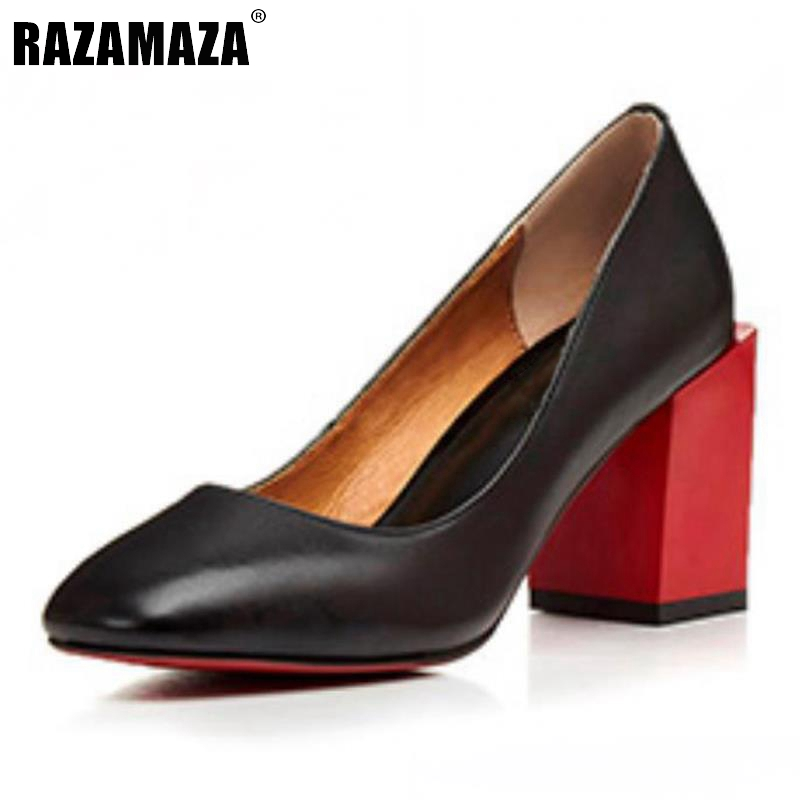 genuine leather new high heels shoes thick