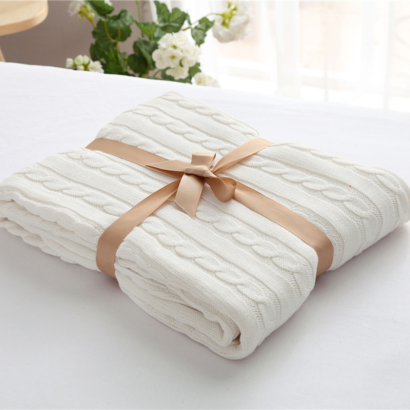 High Quality 100% Cotton Blanket Handmade Soft Knitted Solid Color Plaid Throw Blanket On Sofa Bed Plane Warm Bedspreads Gift