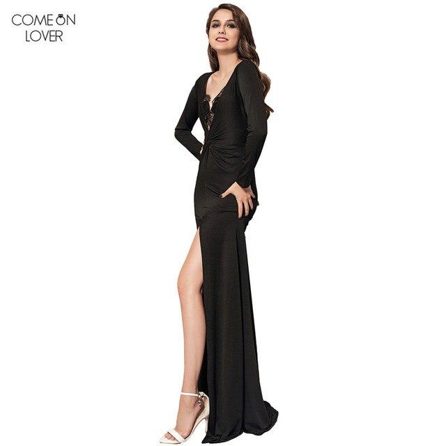 d5a0aaca75c1 Comeonlover Women Maxi Sexy Dress Long Sleeve fitted dress Long Black Dress  VT1012 Deep V Neck