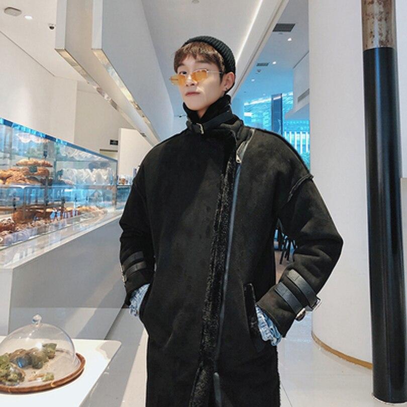 Nouveau 2019 mode coréenne épaisse de haute qualité longue Trench manteau hommes hiver pardessus lâche hiver Zipper hommes Trench Coat 2 couleurs - 4