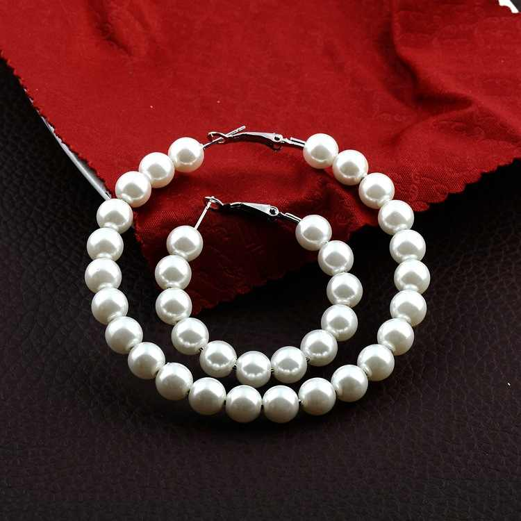 hot 2019 Trendy Elegant Created Big Simulated Pearl Earrings String Statement Dangle Statement Multiple Pearls CircleEarrings