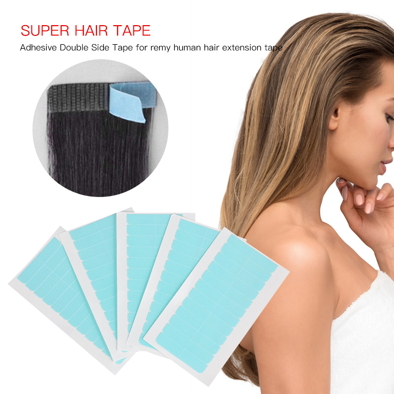 60 Tabs Replacement Tape For Tape Hair 4cm*0.8cm Super Adhesives Blue Tape  Double-sided Lace Front Support Tape