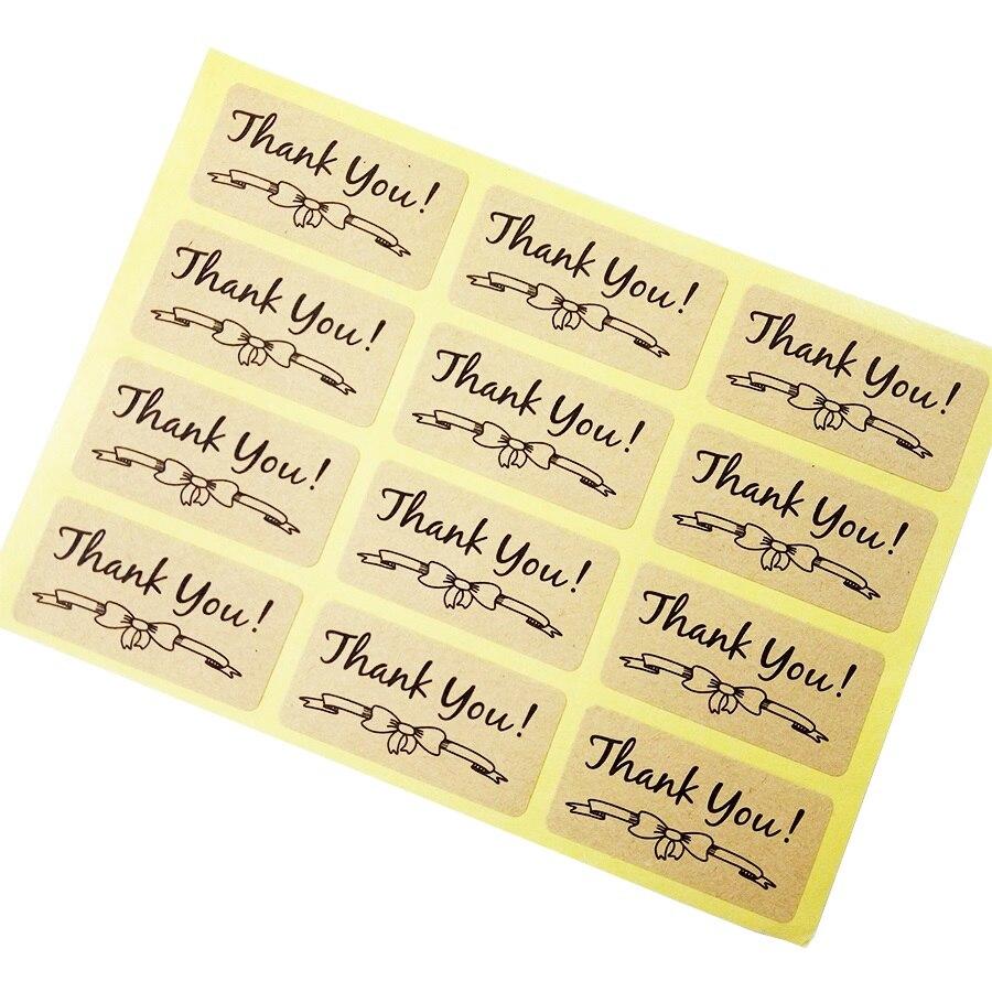 1200 pcs lote obrigado com bowknot papel kraft etiquetas auto adesivas scrapbooking para os produtos feitos