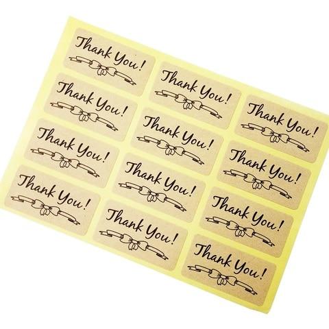 1200 pcs lote obrigado com bowknot papel kraft etiquetas auto adesivas scrapbooking para os produtos