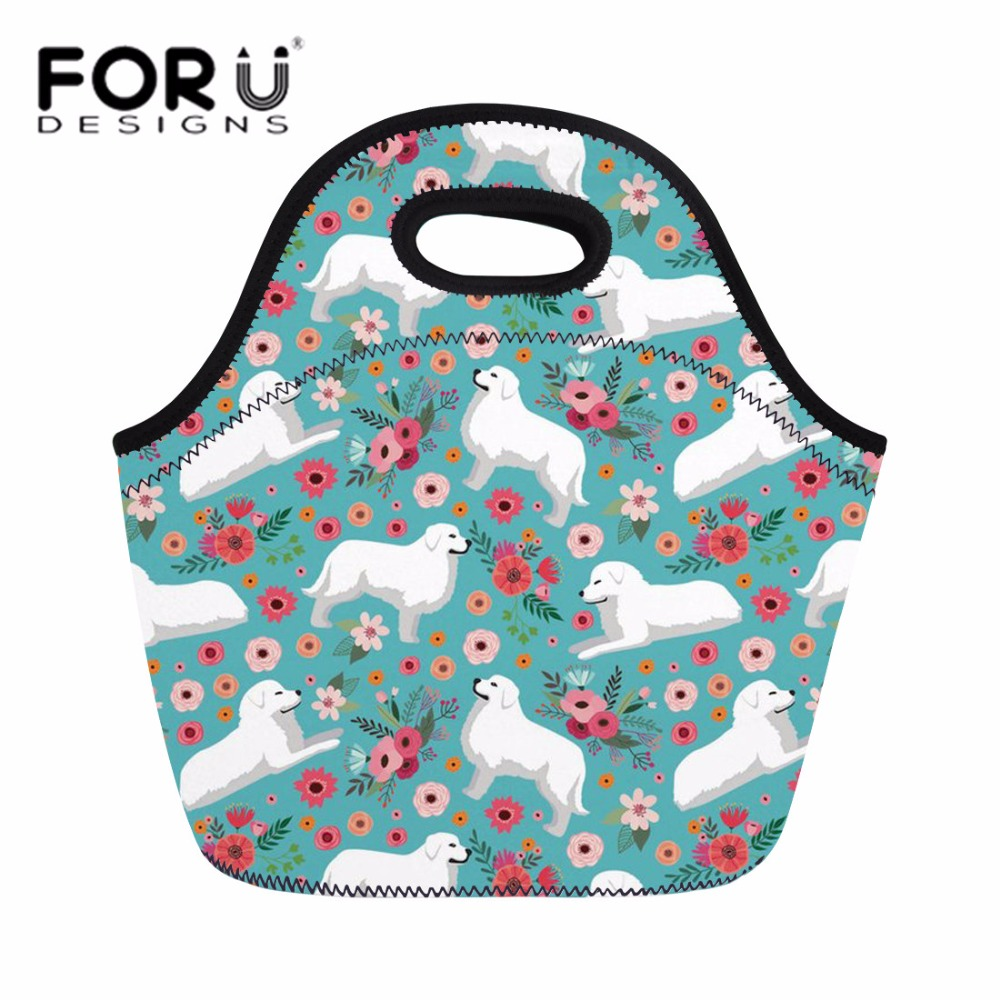 FORUDESIGNS Thermal Lunch Box for Kids Fruit Fresh Meal Bag Ladies Great Pyrenees Daypack Tote Handbag Women Picnic Snacks Bags