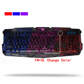 Russian Backlit Keyboard Crack Gaming LED USB Wired Colorful Breathing Waterproof Computer 3