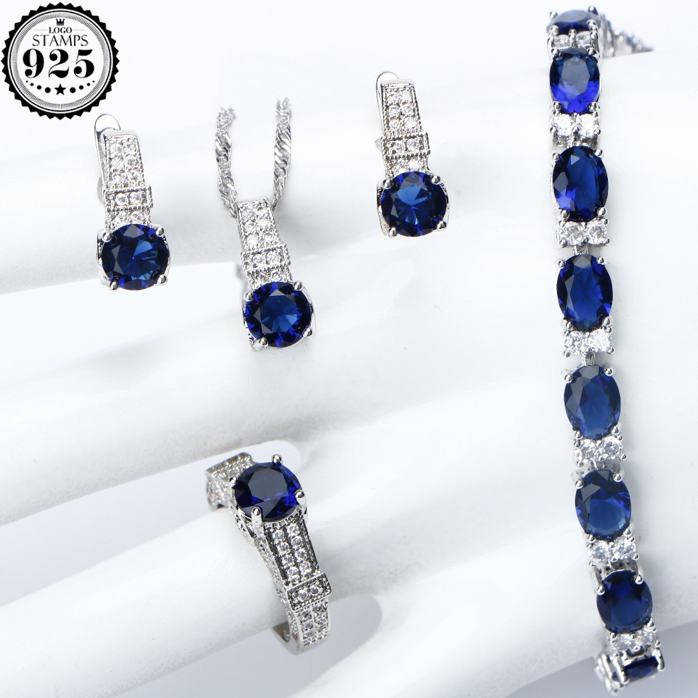 New Blue CZ Bridal Costume Jewelry Sets For Women Wedding Silver 925 Jewelry Bracelet Earrings Pendant Necklace Ring Gift Box a suit of gorgeous rhinestoned flower necklace bracelet earrings and ring for women