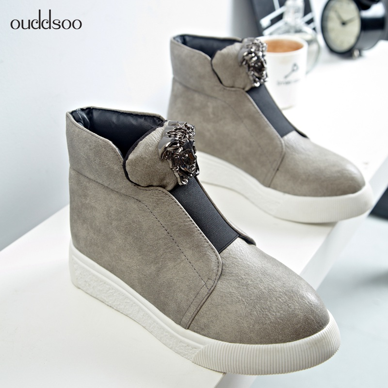 2018 Hot Sale Ankle Boots For Women Skull Street Lace Up Platform Women's Boots Fashion Pu Leather Ankle Boots For Women Size 10 hot sale womens pu leather shoes lace up rivet metal decoration punk style prom ankle boots for women casual footwear plus size