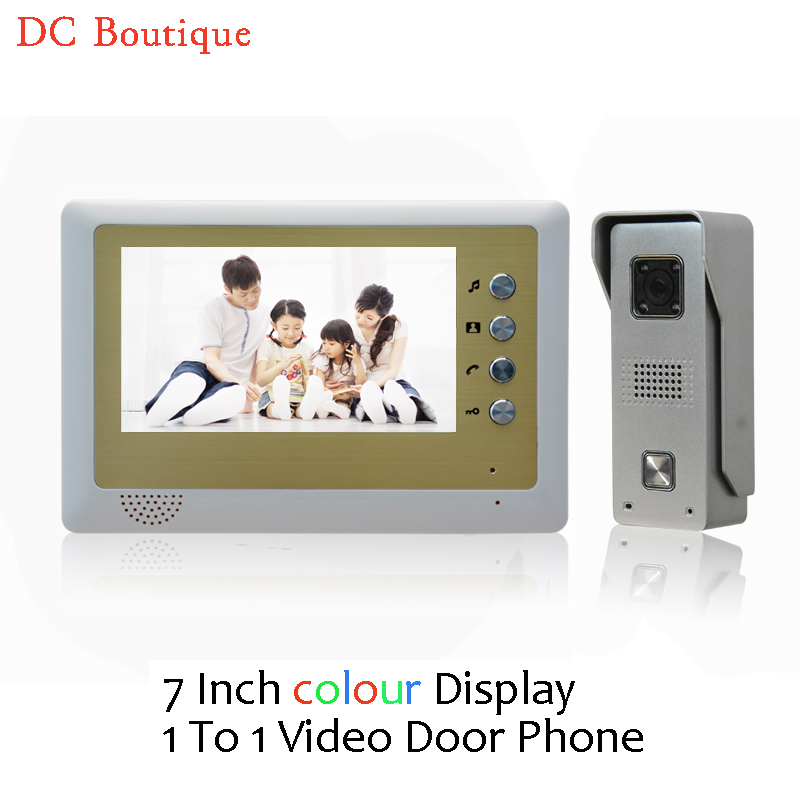(1 set) Video Door Phone Talkback 7 inch Screen Door Access Intercom 1 To 1 Door Bell Intercom Night Version Free Shipping exported quality screen printing frame 7 5x10 inch 19x25cm wholesale price door to door