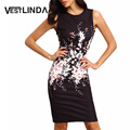 Vestlinda vintage dress mujeres vestidos de verano bodycon viste 2017 ladies sexy floral print o cuello sin mangas vaina midi dress