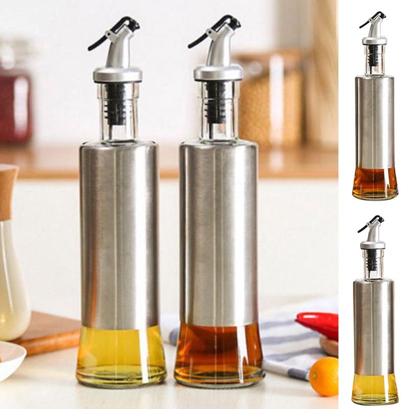 Stainless Steel Glass Oil Pump Bottle Oil Sprayer Vinegar Sauce Dispenser Tools