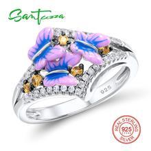 Серебряная бабочка эмаль кольцо для Для женщин белый камень кубический цирконий Для женщин кольцо Pure стерлингового серебра 925 партии Модные украшения