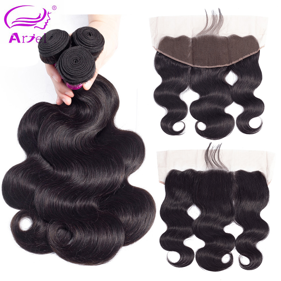 ARIEL Malaysian Body Wave 2 3 Bundles With Closure Non Remy Hair Lace Frontal With Bundles