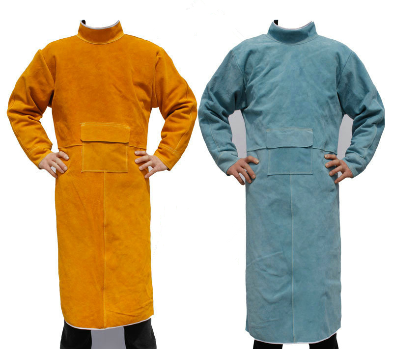 FGHGF Durable Leather Welding Long Coat Apron Protective Clothing Apparel Suit Welder Workplace Labor protection Safety Clothing leather welding long coat apron protective clothing apparel suit welder workplace safety clothing