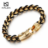 Kalen New 18K Indian Gold Plated Link Chain Bracelets Silver Color 316L Stainless Steel Male Chain