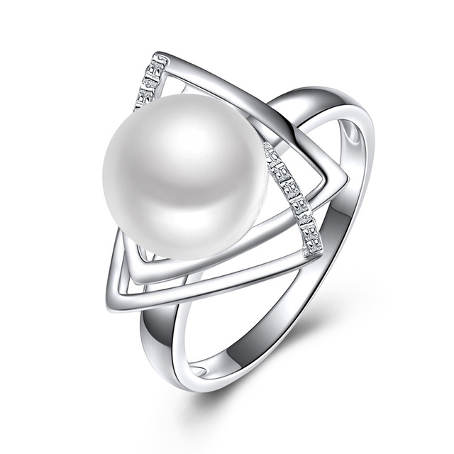 Sinya 925 sterling silver Ring with 9-10mm natural freshwater pearl Fine Jewelry