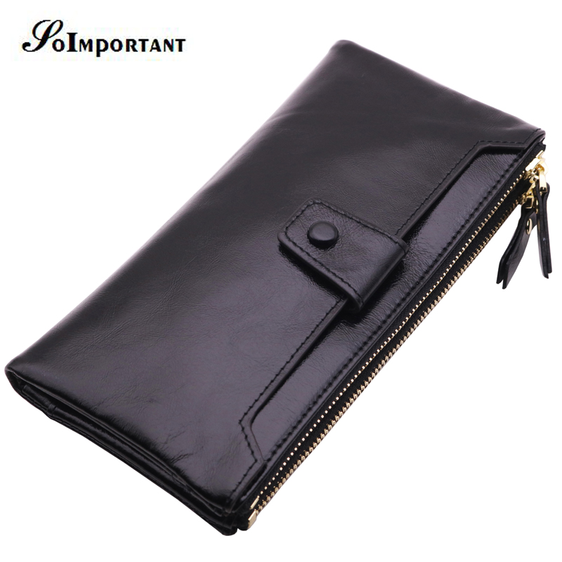 Genuine Leather Wallet Men Coin Purse Male Wallets Double Zipper Cuzdan PORTFOLIO MAN Portomonee Long Clutch Walet Man Vallet