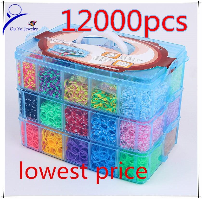 12000pcs Crazy And Fun Rubber Loom Band Kit Kids Diy