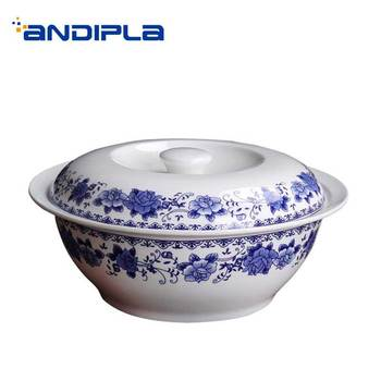 9 Inch Jingdezhen Soup Pot with Lid Kit Ceramic Bone China Round Tureens Kitchen Accessories Tableware Dinnerware Big Casserole