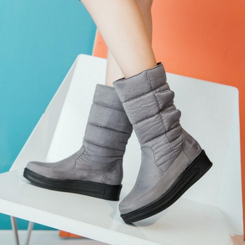 Mujer 52 Moda Invierno 30 Tamaño 2016 Impermeable gris Zapatos Plataforma Negro Nieve Botas rojo Becerro De Piel x0YYRnwqdO