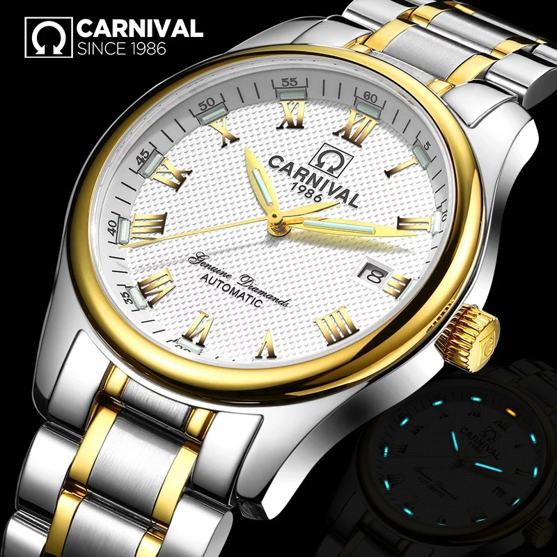 Fashion Tritium luminous Watch men Top brand CARNIVAL Automatic watch with Calendar,Waterproof Full steel Mechanical watches men цена 2017