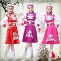4 Pcs Disfraces Trajes de Dança Trajes Étnicos Chineses Mongólia Tibetano Feminino Roupas de Palco de Dança